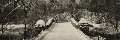 Panoramic View - Snowy Gapstow Bridge of Central Park, Manhattan in New York City-Philippe Hugonnard-Photographic Print