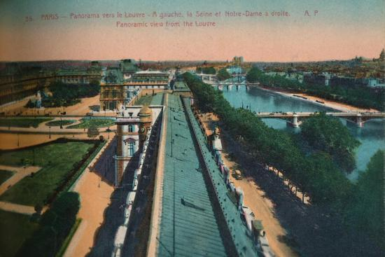 Panoramic view towards the Louvre, Paris, c1920-Unknown-Giclee Print