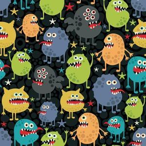 Cute Monsters Seamless Texture with Stars. by panova