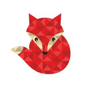 Little Red Fox Made of Triangles. by panova