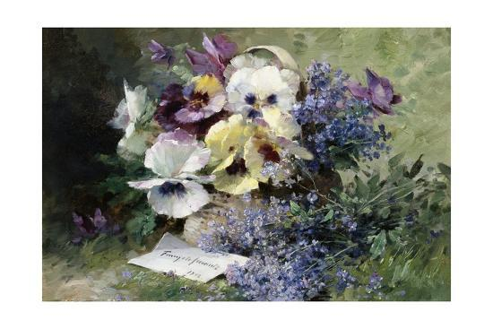 Pansies and Forget Me Not-Albert Tibulle de Furcy Lavault-Giclee Print