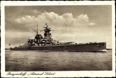 Panzerschiff Admiral Soheer, Deutsches Kriegsschiff--Giclee Print