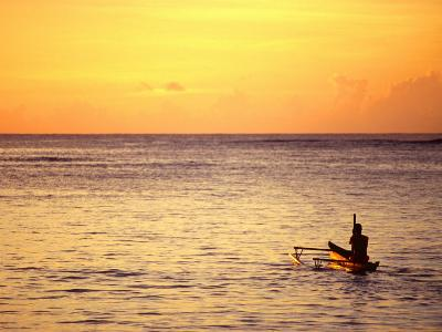 Pao-Pao Boat on the Water at Sunset, Vaisala Beach, Samoa-Tom Cockrem-Photographic Print