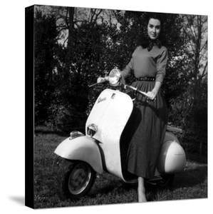 Paola Mori on a Vespa During Her Honeymoon with Orsonwelles in South of France, May 1955