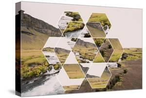 Geometric Mountain Landscape with River and Green Hills by Paolo De Gasperis