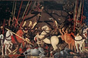Rout of St. Roman (Battle of St Roman),by Paolo Uccello, c. 1436-1439 . Uffizi Gallery, Florence by Paolo Uccello