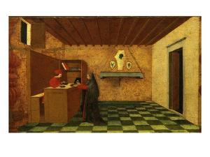 Woman Selling the Host to a Jewish Merchant, First Scene from the Miracle of the Desecrated Host by Paolo Uccello