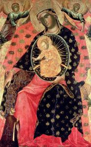Madonna and Child Enthroned with Two Devout People by Paolo Veneziano