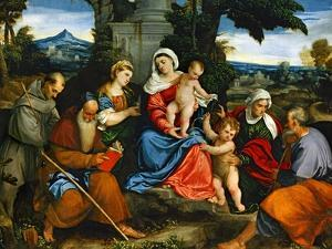 The Holy Family with Saint Francis, Saint Anthony, Mary Magdalen, John Baptist and Elisabeth by Paolo Veronese