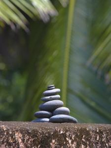 Stones Balanced on Rock, Palm Trees in Background, Maldives, Indian Ocean by Papadopoulos Sakis