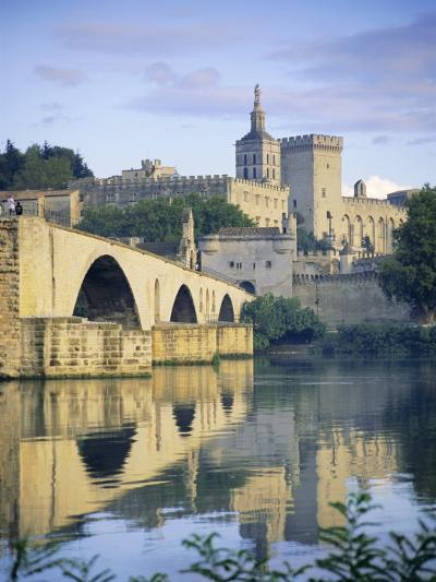Papal Palace and Bridge Over the River Rhone, Avignon, Provence, France, Europe-John Miller-Photographic Print