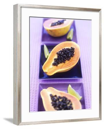 Papaya Halves and Lime Wedges-Maja Smend-Framed Photographic Print