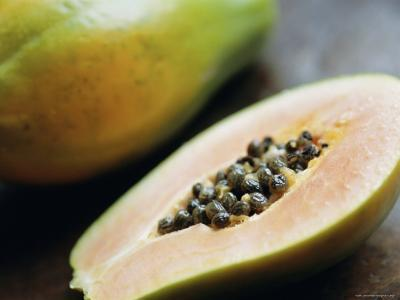 Papaya (Pawpaw) Sliced Open to Show Black Seeds-Lee Frost-Photographic Print