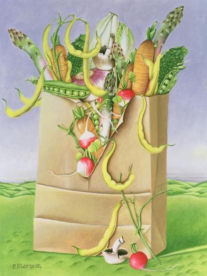 Paper Bag with Vegetables, 1992-E.B. Watts-Giclee Print