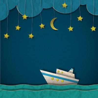 Paper Cruise Liner at Night. Creative Vector Eps 10- A-R-T-Art Print