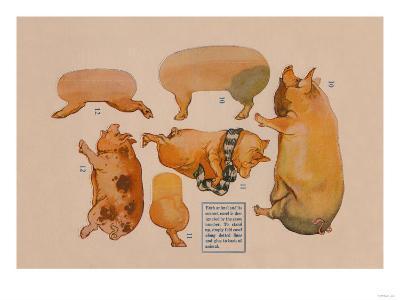 Paper Cutout Pig Dolls--Art Print
