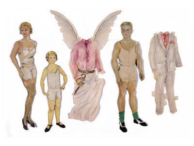 Paper Dolls of Scott, Zelda and Scottie-Zelda Fitzgerald-Art Print