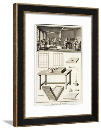 Paper Marbler's Workshop and Tools, from 'Encyclopedie Des Sciences et Metiers' by Denis Diderot--Framed Giclee Print