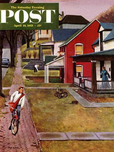 """Paperboy"" Saturday Evening Post Cover, April 14, 1951-John Falter-Premium Giclee Print"