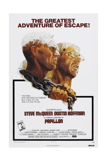 Papillion, US poster, Steve McQueen, Dustin Hoffman, 1973--Art Print