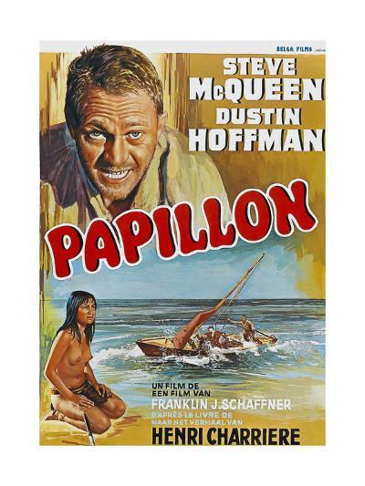 Papillon, Steve Mcqueen, Ratna Assan, Belgian Poster, 1973--Giclee Print