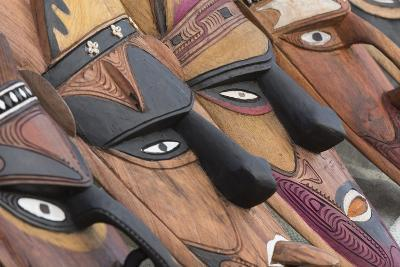 Papua New Guinea, Murik Lakes, Karau Village. Traditional Carved Masks-Cindy Miller Hopkins-Photographic Print