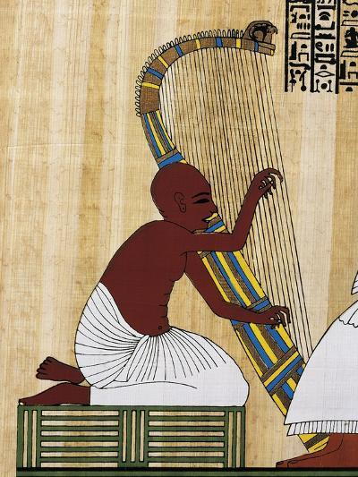 Papyrus Depicting Blind Harpist, Reconstruction of Mural Painting from Theban Tomb of Anhur Kau--Giclee Print