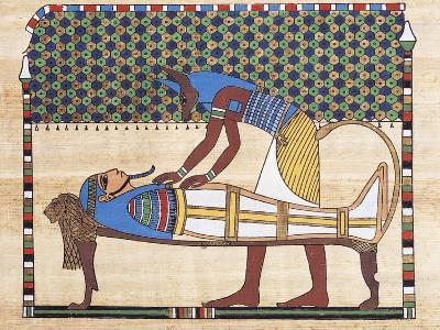 Papyrus Depicting Embalming Ceremony, Reconstruction of Mural Painting from Theban Tomb--Giclee Print