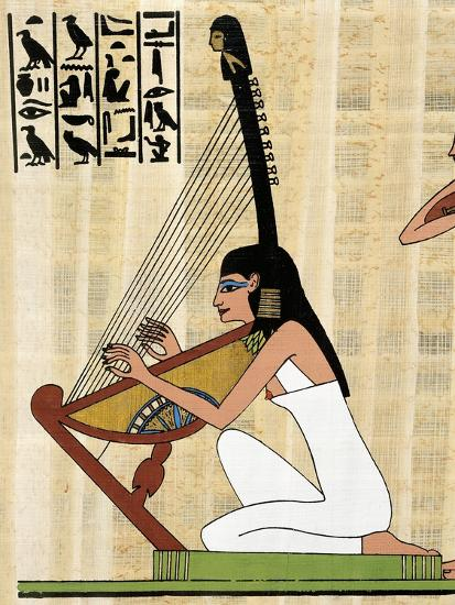 Papyrus Depicting Female Harp Player, Reconstructed Mural Painting from Theban Tomb of Rekhmire--Giclee Print