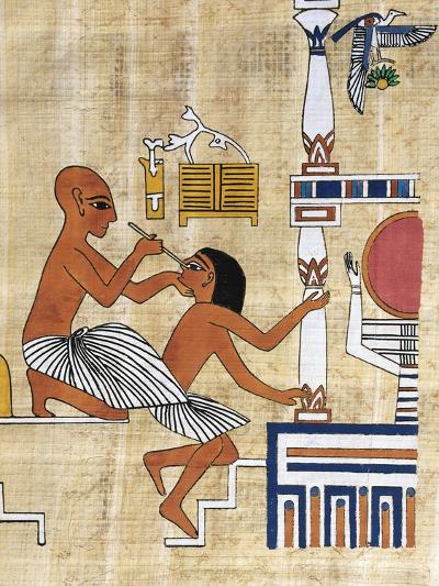 Papyrus Depicting Ophthalmic Treatment, Reconstruction of Mural Painting from Tomb of Ipi--Giclee Print