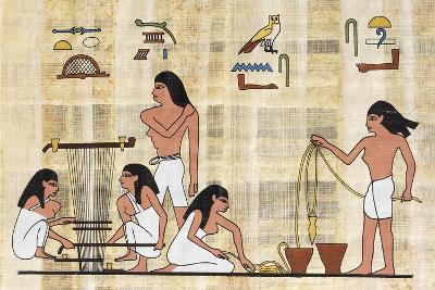 Papyrus Depicting Spinning and Weaving, Reconstruction of Middle Kingdom Painted Relief--Giclee Print
