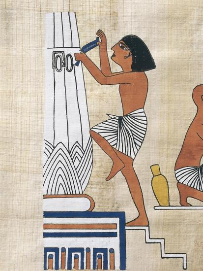 Papyrus Depicting Worker Decorating Lotus Form Pillar--Giclee Print