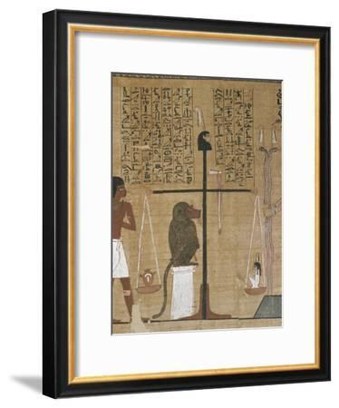 Papyrus funéraire : scène de psychostasie (pesée de l'âme)--Framed Giclee Print