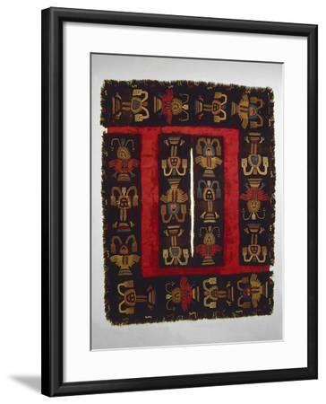 Paracas Culture, Wool Fabric Poncho from Paracas Necropolis, Peru--Framed Giclee Print