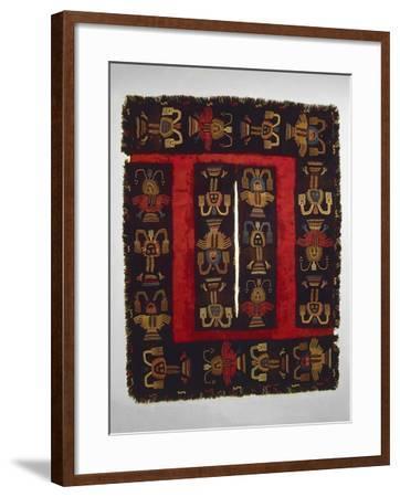 Paracas Culture, Wool Fabric Poncho from Paracas Necropolis, Peru--Framed Giclee Print