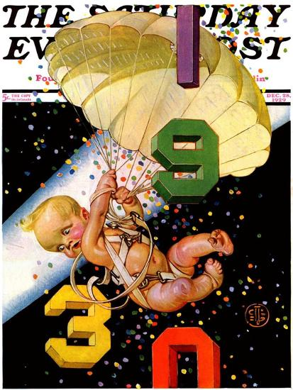 """Parachuting Baby New Year,"" Saturday Evening Post Cover, December 28, 1929-Joseph Christian Leyendecker-Giclee Print"