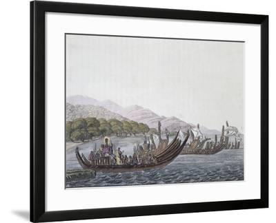 Parade of War Canoes in Pare in Honor of James Cook, in May 1774--Framed Giclee Print