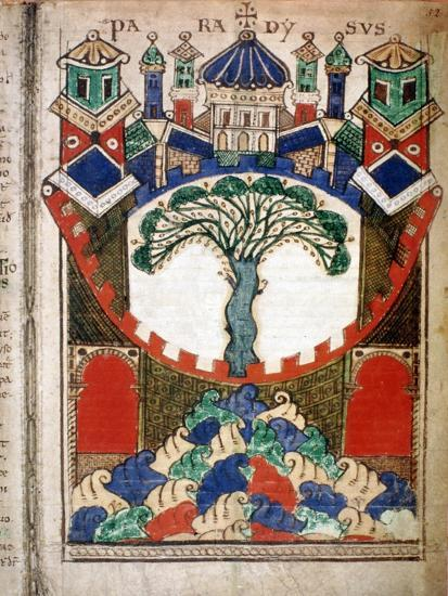 Paradise, a page from Liber Floridus, 12th century. Artist: Unknown-Unknown-Giclee Print