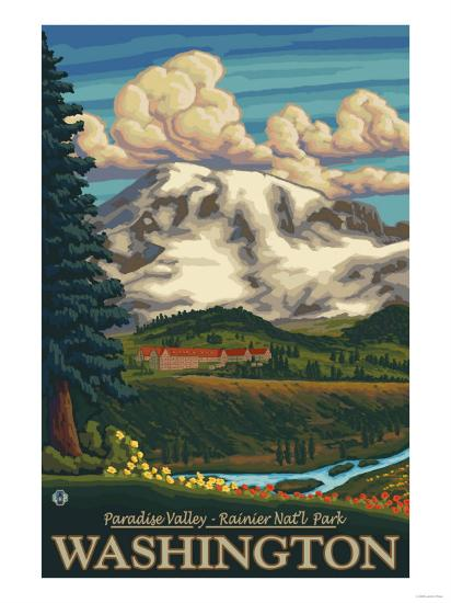 Paradise Inn, Mt. Rainier National Park, Washington-Lantern Press-Art Print