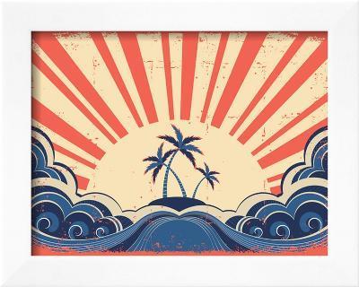 Paradise Island On Grunge Paper Background With Sun-GeraKTV-Framed Art Print
