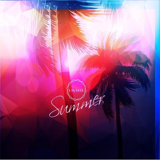 Paradise Island-Palm Tree Sunset- AlessandraM-Art Print