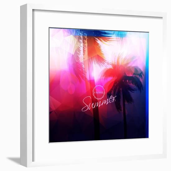 Paradise Island-Palm Tree Sunset- AlessandraM-Framed Premium Giclee Print