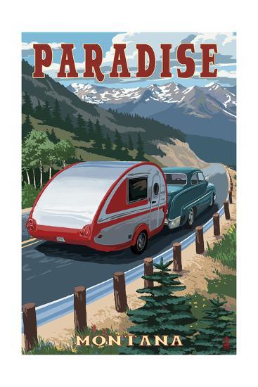 Paradise, Montana - Retro Camper-Lantern Press-Art Print