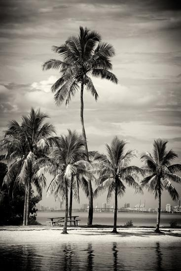 Paradisiacal Beach overlooking Downtown Miami - Florida-Philippe Hugonnard-Photographic Print