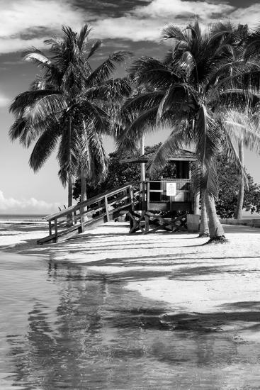 Paradisiacal Beach with a Life Guard Station - Miami - Florida-Philippe Hugonnard-Photographic Print