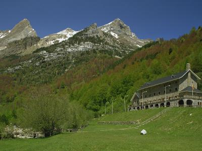 Parador of Bielsa with Snow Capped Mountains Behind, in Aragon, Spain, Europe-Michael Busselle-Photographic Print