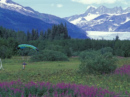 Paraglider Landing in a Field near the Mendenhall Glacier, Alaska-Rich Reid-Photographic Print