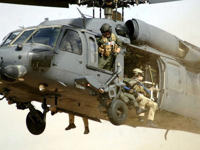 Pararescuemen Aboard a Helicopter Prepare For Landing-Stocktrek Images-Photographic Print