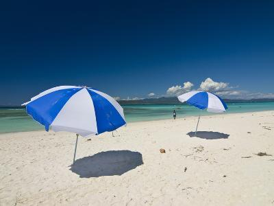 Parasols at the Beautiful Beach in Nosy Iranja, a Little Island Near Nosy Be, Madagascar--Photographic Print