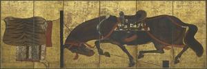 Paravent à six volets : cheval à la longe